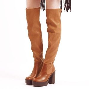 EUC TOPSHOP Brown 'buddy '70s' Over The Knee Boots